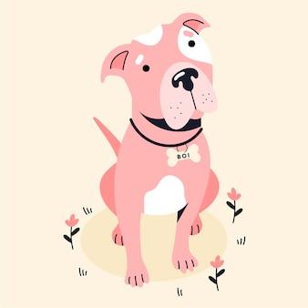 Płaska Kreatywna Ilustracja Pitbull Darmowych Wektorów