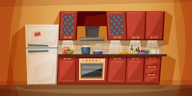 Płaska kreskówka kuchni z meblami. przytulne wnętrze kuchni z kuchenką, szafką, naczyniami i lodówką.
