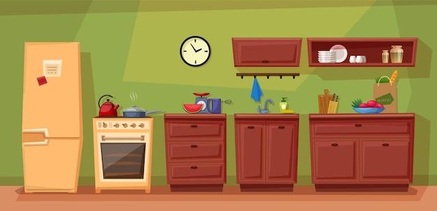 Płaska kreskówka kuchni z meblami. przytulne wnętrze kuchni z oknem, szafką, naczyniami i tosterem.