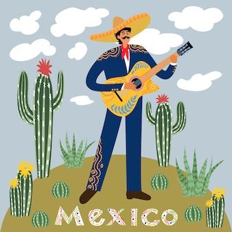 Płaska kreskówka meksykańskiego mężczyzny grającego na gitarze w sombrero na tle nieba z chmurami otoczonymi kaktusami i sukulentami