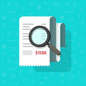 Płaska kreskówka rachunek podatkowy lub badanie analizy dokumentu paragonu