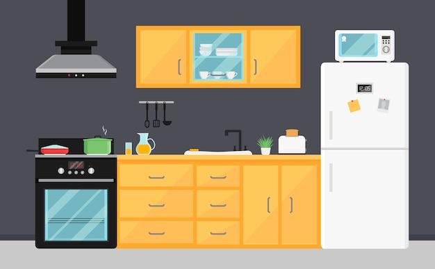 Płaska kuchnia wektorowa z urządzeniami elektrycznymi, zlewem, meblami i naczyniami.