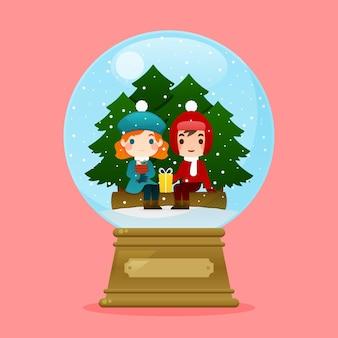 Płaska kula śnieżna świąteczna