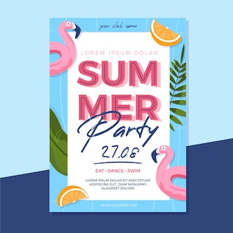 Płaska letnia impreza ulotki