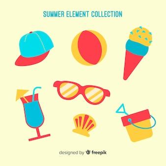 Płaska letnia kolekcja elementów