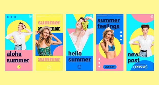 Płaska letnia kolekcja opowiadań na instagramie ze zdjęciem