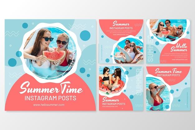 Płaska letnia kolekcja postów na instagramie ze zdjęciem