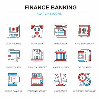 Płaska linia bankowości i finansów ikony koncepcje zestaw