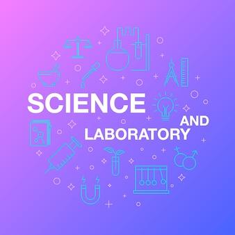 Płaska linia ikon naukowych i laboratoryjnych.