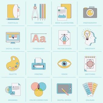 Płaska linia ikon projektowania graficznego