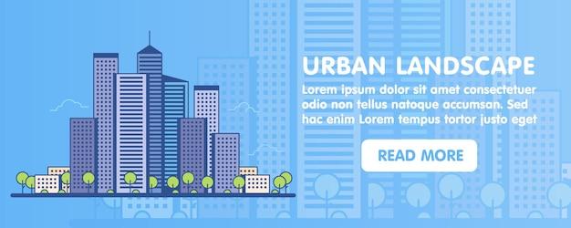 Płaska linia projekt graficzny koncepcja obrazu, układ elementów strony internetowej krajobrazu miejskiego. ikony. ilustracja wektorowa.