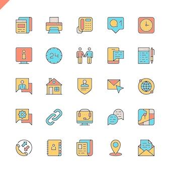Płaska linia skontaktuj się z nami zestaw ikon