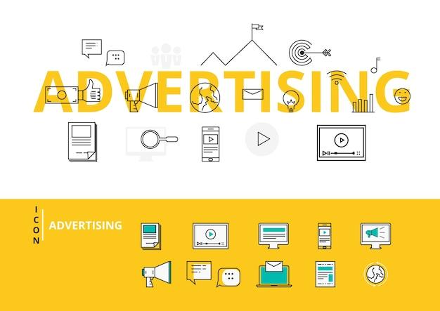 Płaska linia słowo projekt reklama z ikonami i elementami