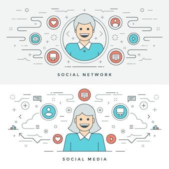 Płaska linia social media i ilustracja koncepcja sieci.