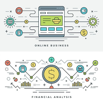 Płaska linia zakupy i biznes internetowy