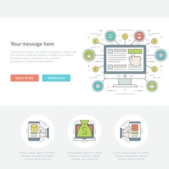 Płaska linia zakupy online koncepcja ilustracji wektorowych.