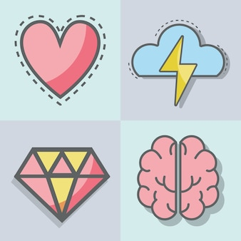 Płaska linia zestaw ikona zdrowia psychicznego