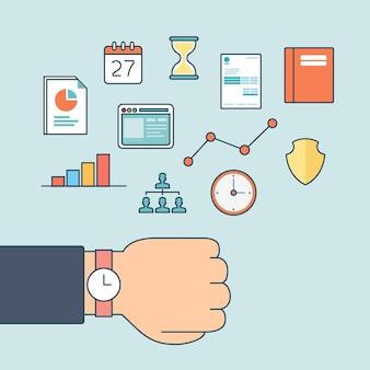 Płaska liniowa męska ręka z zegarkiem z ikonami ilustracji wektorowych strony internetowej
