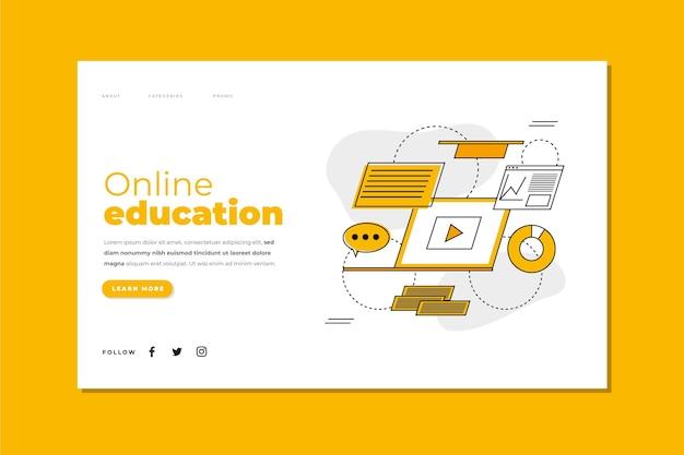 Płaska liniowa strona docelowa do nauki online