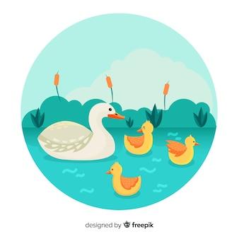 Płaska macierzysta kaczka i kaczątka w stawie