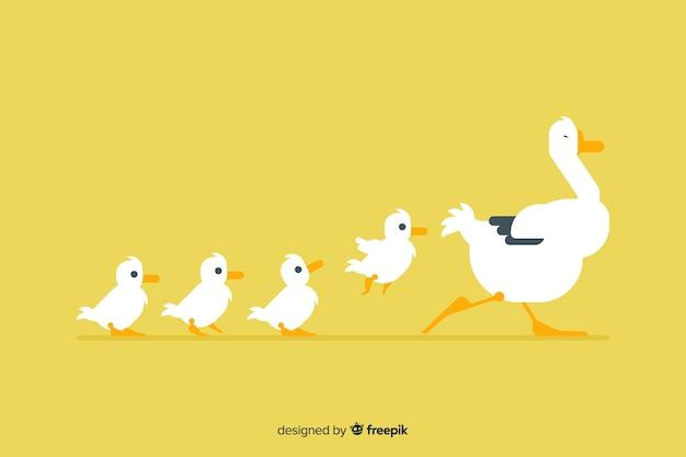Płaska macierzysta kaczka i kaczątka z żółtym tłem