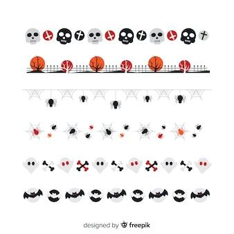 Płaska mała kolekcja granicy halloween