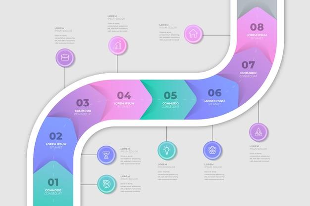 Płaska mapa drogowa kolorowa infografika