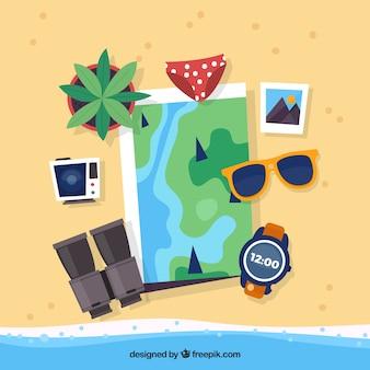 Płaska mapa z elementami letnich podróży