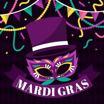Płaska maska mardi gras