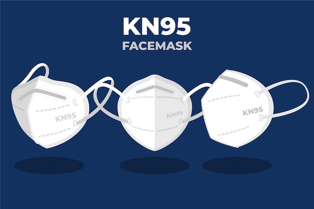Płaska maska na twarz kn95 w różnych perspektywach