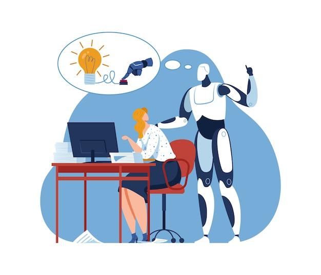 Płaska maszyna biznesowa robota ai robi pomysł, ilustracja. charakter innowacji człowieka i sztucznej inteligencji w twórczej pracy z kreskówkami. pomaga w tym zrobotyzowana technologia automatyzacji kreatywności.