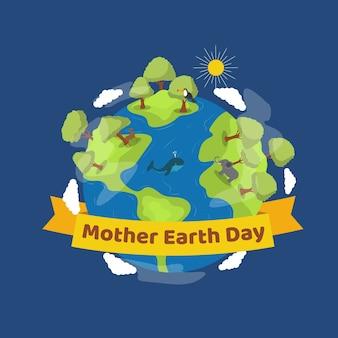 Płaska matka dzień ziemi płaski kształt