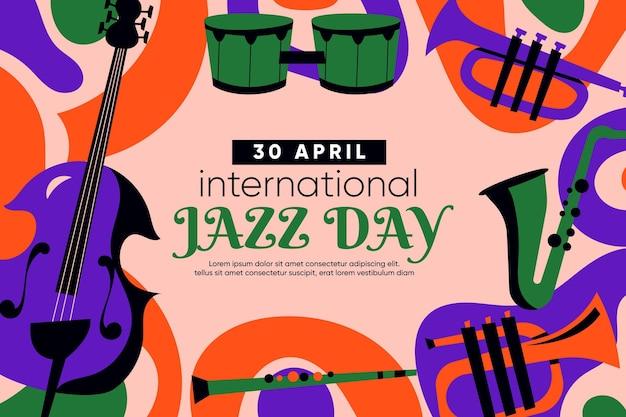 Płaska międzynarodowa ilustracja dzień jazzu