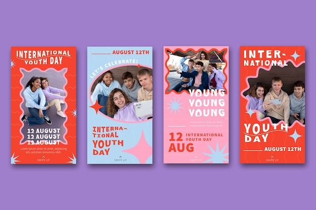Płaska międzynarodowa kolekcja opowieści o dniu młodzieży ze zdjęciem