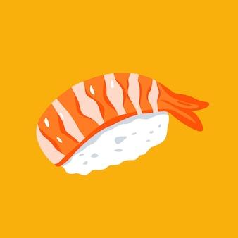 Płaska minimalistyczna ilustracja sushi