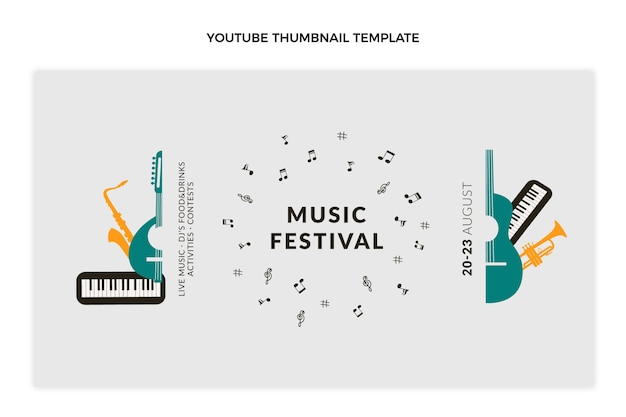 Płaska minimalna miniatura festiwalu muzycznego youtube