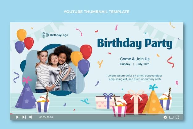 Płaska minimalna miniatura urodzinowa youtube