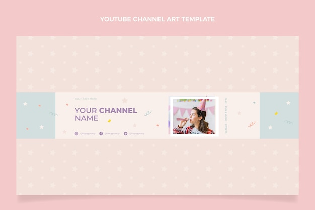 Płaska minimalna urodzinowa sztuka kanału youtube