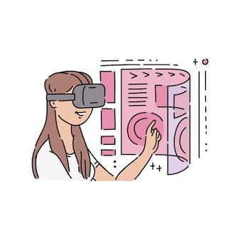 Płaska młoda dziewczyna w wirtualnej rzeczywistości