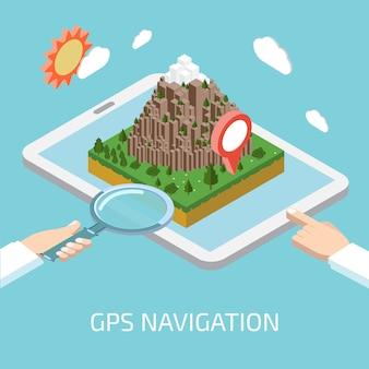 Płaska mobilna nawigacja gps koncepcja infografika izometryczny. tablet, markery znaczników trasy papieru z mapą cyfrową.