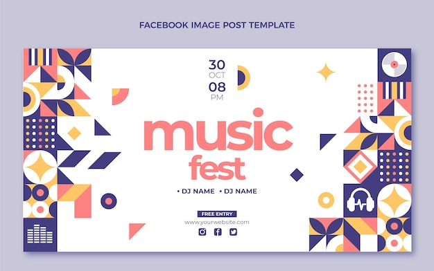 Płaska mozaika festiwal muzyczny na facebooku post