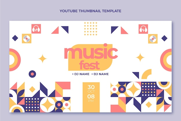 Płaska Mozaika Festiwal Muzyczny Youtube Miniatura Darmowych Wektorów