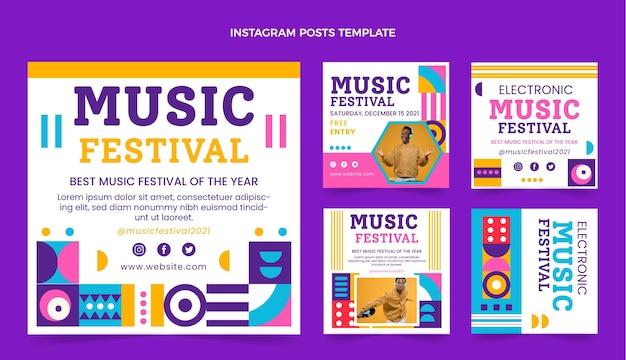 Płaska mozaika na festiwalu muzycznym posty na instagramie