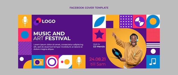 Płaska mozaika okładka festiwalu muzycznego na facebooku