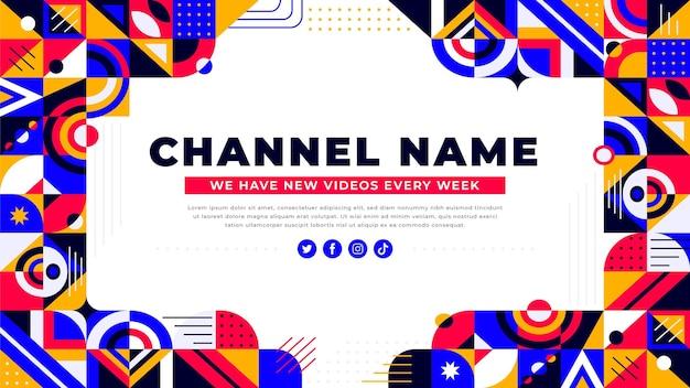 Płaska mozaika sztuka kanału youtube