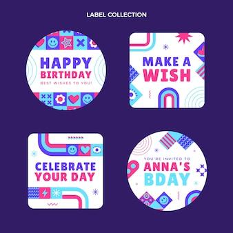 Płaska mozaika urodzinowa etykieta i odznaki