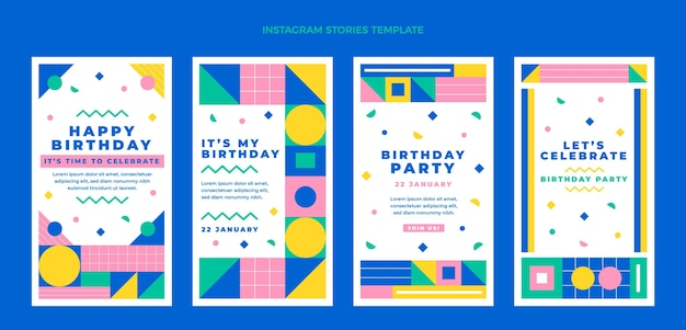 Płaska mozaika urodzinowa historie na instagramie