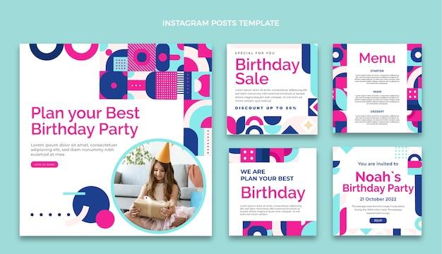 Płaska mozaika urodzinowa posty na instagramie