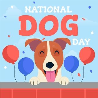 Płaska narodowa ilustracja dnia psa