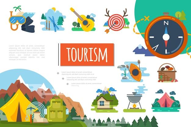 Płaska natura turystyka kolorowa ilustracja kompozycja